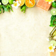 Tropical flowers,citrus fruit  and spa supplies - Stock Photo
