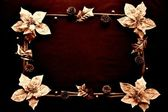 Frame of poinsettia with holly leaf.sepia — Stock Photo