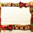 Frame of Red poinsettiand Xmas decoration — Stock Photo #9942960