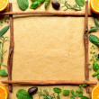Orange and herb frame — Stock Photo