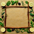 Lemon and herb frame - Stock Photo