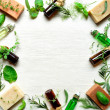 Herb and aromatherapy supplies — Stock Photo