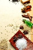 Spice and aromatherapy supplies — Stock Photo