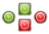 Tlačítka s ikonami přihlašovací hodiny — Stock vektor