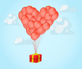 Balloons in shape of a heart with gift box — Stock Vector