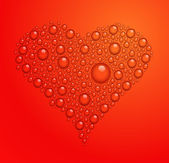 Vector illustration of heart from water drops on red background — Stock Vector