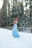 Beauty girl in blue dress in winter forest — Stock Photo