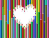 Heart shape out of pencils — Stock Vector