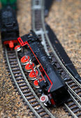 Toy railroad train crash — Stock Photo