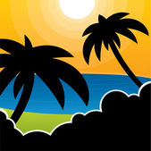 Vector beach background with palm trees — Vector de stock