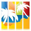 Tropical vector banner set with palm trees — Stock Vector