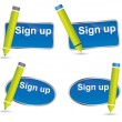 Fun sign up blue web2 icon set with green pencils — Stock Vector