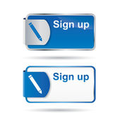 Sign up button or icon with reflective design — Vector de stock