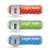 Glossy login buttons with keyhole and metal frame — Stock Vector