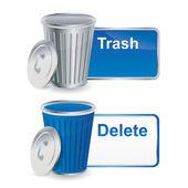 Botones de basura y eliminar con el envase — Vector de stock