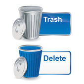 Prullenbak en verwijder knoppen met container — Stockvector
