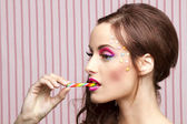 Candy cane girl — Stock Photo