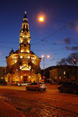 Night city, church — Fotografia Stock