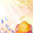 Stock Photo: Easter background with eggs and butterflies