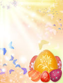Easter background with eggs and butterflies — Stock Photo