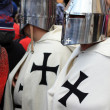 Medieval warriors on street of Brasov — Foto Stock