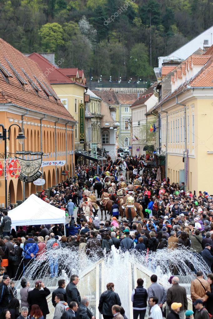 Main square of Brasov city from Transylvania after Junes Parade  Stock Photo #10193777