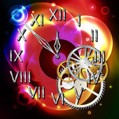 Graphic illustration of abstract clock over light shapes — 图库矢量图片