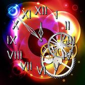 Ilustración gráfica del reloj abstracto sobre formas de luz — Vector de stock