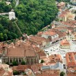 Aerial view over old center of Brasov city — Foto de Stock