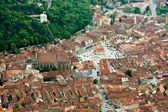 Aerial view of central square from Brasov city — Stock Photo
