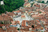 Aerial view of Brasov Council Square, Black Church and White Tower — Stockfoto