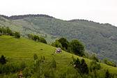 Casa en la cima de la colina, pestera aldea de rumania — Foto de Stock
