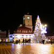 Piata Sfatului from Brasov in the night time - Zdjęcie stockowe