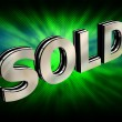3d metallic sold text over abstract background — Foto Stock