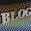 Foto Stock: Metallic blog 3d text over carbon texture