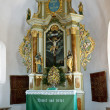 Very old altar from fortified church of Harman. — Stock Photo