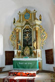 Very old altar from fortified church of Harman. — Foto de Stock
