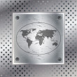 Graphic illustration of world map over metallic plate — Stockvectorbeeld