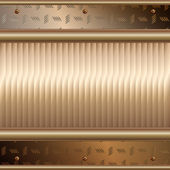 Graphic illustration of technology background with golden plates over metal — Stockvektor