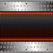 Graphic illustration of technology background with girded plates over metal — Vector de stock