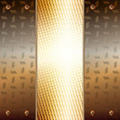 Graphic illustration of technology background with metallic plates and gold — Stok Vektör