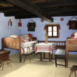Decorated room of rural house from Transylvania — Stockfoto