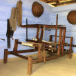Closeup photograph of an old threaded loom — Stok fotoğraf
