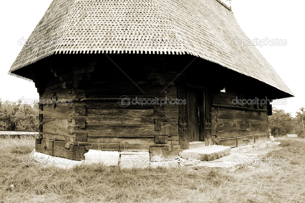 Scene of wooden church from Transylvania, Romania  Stock Photo #9571838