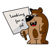 Graphic illustration of a little bear what is looking for a job — Stock Vector