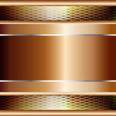 Graphic illustration of technology background with golden plates and model on top — ストックベクタ