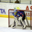 de hockey keeper van brasov team op ijs — Stockfoto