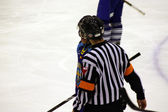 Scene with hockey referee on ice — Foto Stock