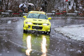 Mitsubishi Car rally during the competition at Brasov rally — Stock Photo