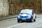 Blue race rally car on asphalt road competition — Stock Photo